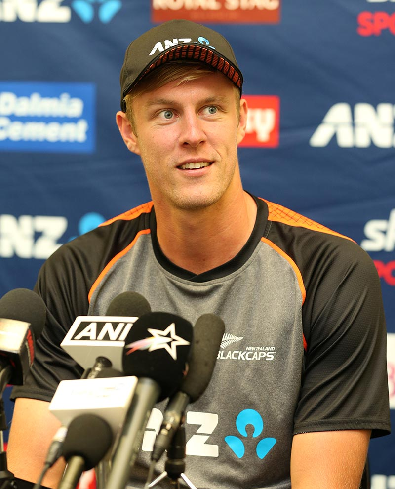 New Zealand's Kyle Jamieson during the press conference. Photo: Reuters