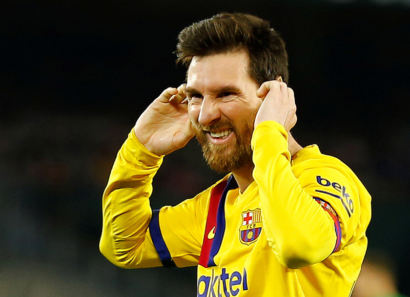 Barcelona's Lionel Messi reacts during the La Liga Santander match between Real Betis and FC Barcelona, at Estadio Benito Villamarin, in Seville, Spain, on February 9, 2020. Photo: Reuters