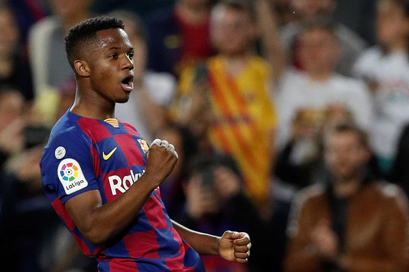 Barcelona's Anssumane Fati celebrates scoring their second goal during the La Liga Santander match between  FC Barcelona and Levante, at Camp Nou, in Barcelona, Spain, on February 2, 2020. Photo: Reuters