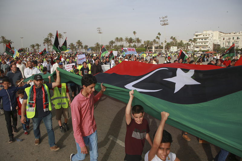 Libyans hold a demonstration against military operations by forces loyal to Field Marshal Khalifa Hifter, at Martyrs' Square in Tripoli, Libya, May 3, 2019. Photo: AP/File