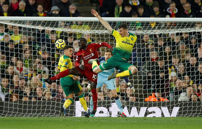 Liverpool's Sadio Mane in action before scoring their first goal during the Premier League match between Norwich City and Liverpool, at Carrow Road, in Norwich, Britain, on February 15, 2020. Photo: Action Images via Reuters