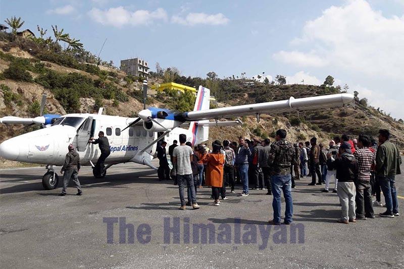 A Nepal Airlines aircraft that conducted a test flight to Manamaya Rai Khanidanda Airport, Khotang, on Tuesday, February 25, 2020. Photo: THT