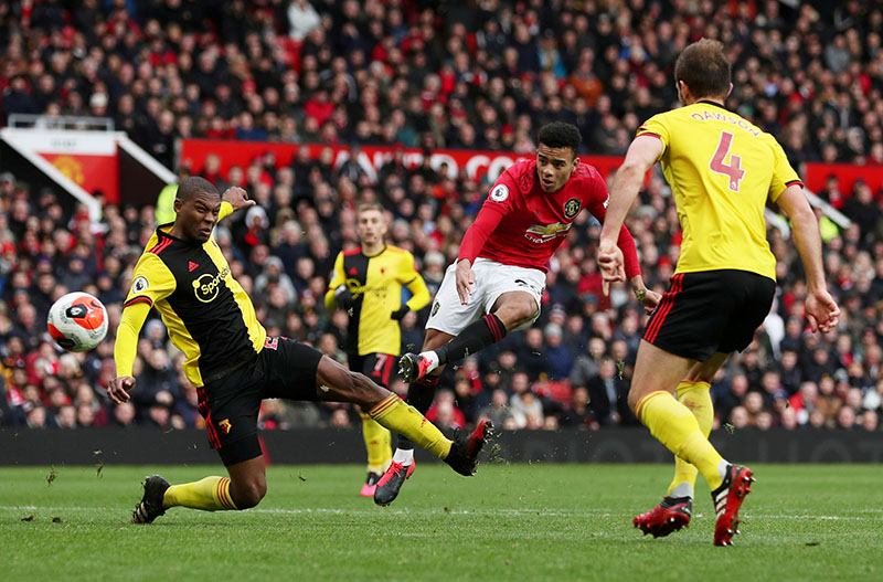 Manchester United's Mason Greenwood scores their third goal during the Premier League match between Manchester United and Watford, at Old Trafford, in Manchester, Britain, on February 23, 2020. Photo: Action Images via Reuters