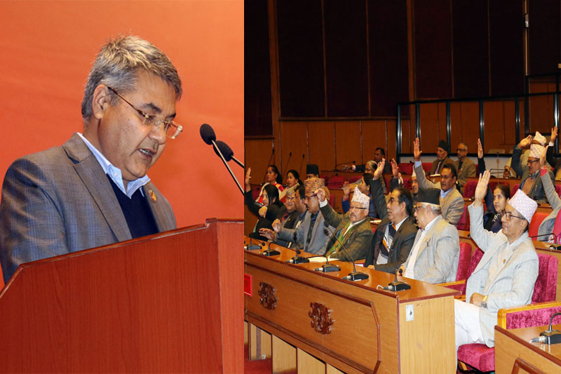 This image shows a collage of Minister of Communication and Information Technology Gokul Prasad Baskota speaking during the National Assembly meet and members in the assembly giving their consensus on the discussion of Media Council Bill, 2076, on Thursday, February 06, 2020. Photo: Rastriya Samachar Samiti