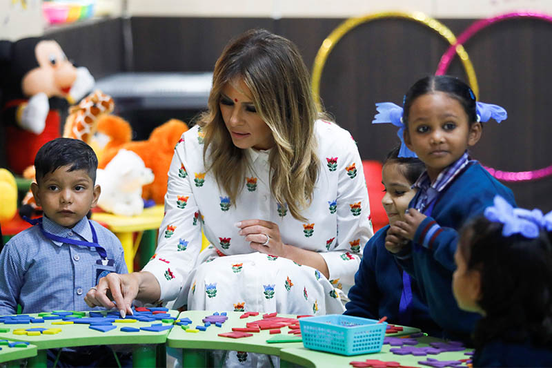 US first lady Melania Trump plays with children at the Sarvodaya Co-Education Senior Secondary School in Moti Bagh, in New Delhi, during a visit by US President Donald Trump in India, February 25, 2020. Photo: Reuters