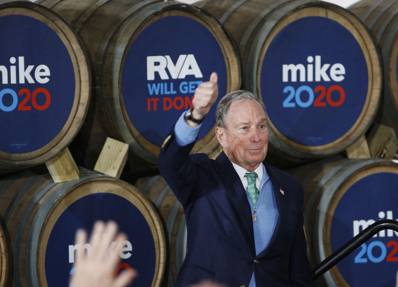 Democratic presidential candidate Mike Bloomberg gives his thumbs-up after speaking during a campaign event at Hardywood Park Craft Brewery in Richmond, Va., Saturday, Feb. 15, 2020. Photo: AP