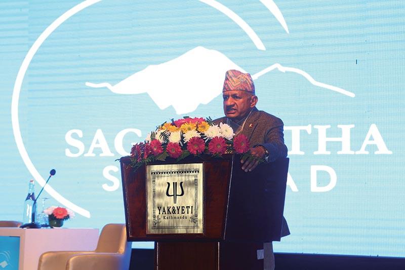 Minister of Foreign Affairs Pradip Gyawali addressing a programme on Sagarmatha Sambad, in Kathmandu. Photo: RSS