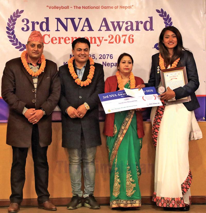 Nepal APF Club's Saraswoti Chaudhary (right) receiving the Player of the Year award during the third NVA Awards in Kathmandu on Saturday. Photo: THT