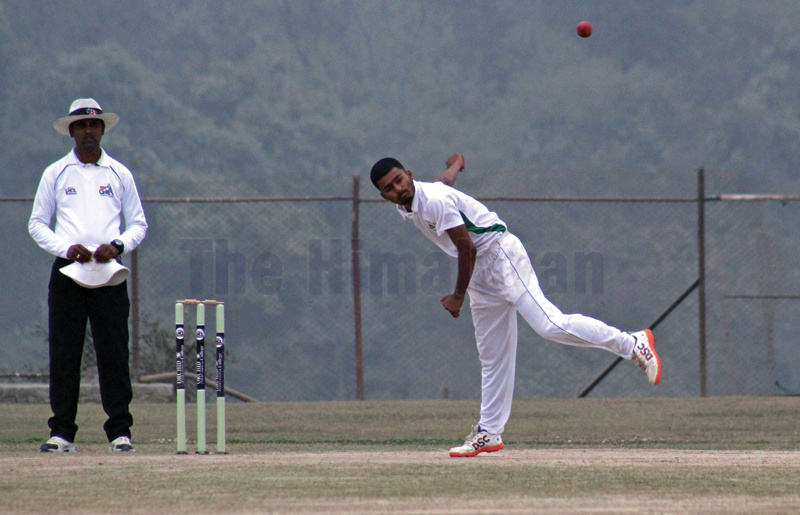 Naren Saud of Nexus bowls against Himalayan on the first day of their Orchid College second Himalaya Cricket League match in Kathmandu on Friday. Photo: THT