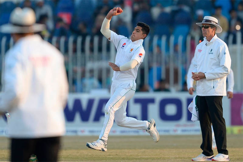 Pakistan's quick bowler Naseem Shah steams in to bowl against Bangladesh during 1st test at Rawalpindi Cricket Stadium, in Pakistan, on Sunday, February 09, 2020. Courtesy: ICC/Twitter