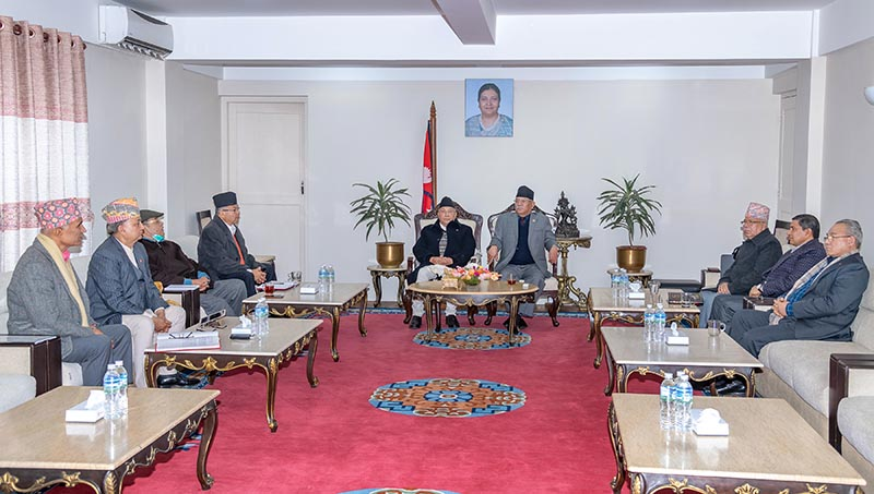 Nepal Communist Party (NCP) leaders attending the party's secretariat meeting held at the prime minister's official residence in Baluwatar, Kathmandu, on Wednesday, February 26, 2020. Photo: RSS