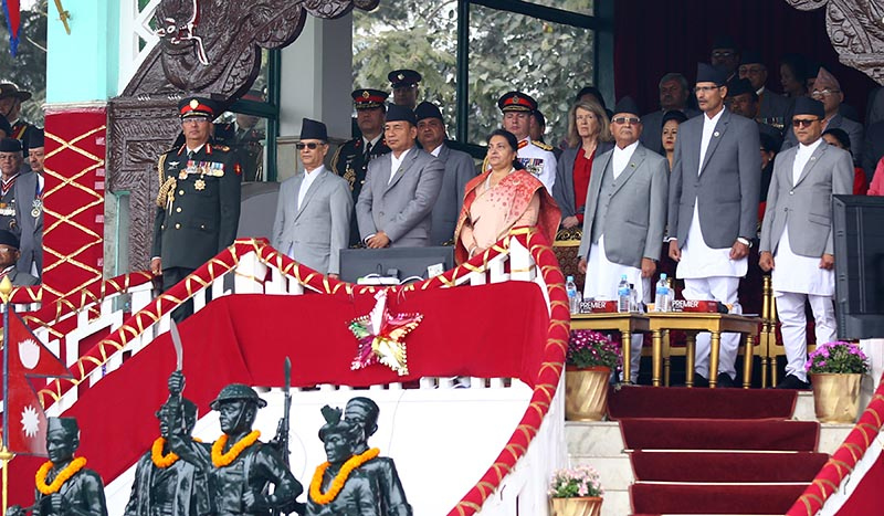 President Bidya Devi Bhandari and Vice-president Nanda Bahadur Pun, Prime Minister KP Sharma Oli among other ministers and government officials attending a spectacular function organised to mark the Army Day at Nepali Army Pavilion, Tundikhel, Kathmandu, on the occasion of on Friday, February 21, 2020. Photo: RSS