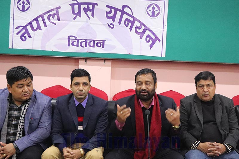 Nepali Congress Vice-president Bimalendra Nidhi (second from right) speaking at a press meet organised by Press Union Chitwan, in Bharatpur Metropolitan City, on Monday, Fenruary 17, 2020. Photo: THT