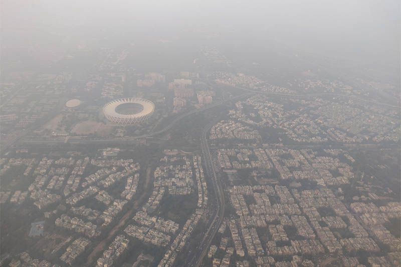 FILE PHOTO: An aerial view of the Delhi skyline shrouded in smog, in New Delhi, India, December 8, 2019. Photo: Reuters
