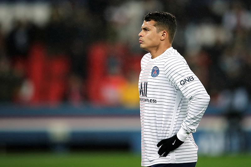 Paris St Germain's Thiago Silva during the warm up before the match. Photo: Reuters