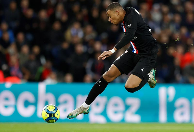 Paris St Germain's Kylian Mbappe in action during the Ligue 1 match between Paris St Germain and Montpellier, at Parc des Princes, in Paris, France, on February 1, 2020. Photo: Reuters