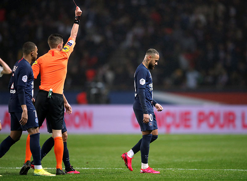 Paris St Germain's Neymar is shown a red card by referee Willy Delajod during the  Ligue 1 match between Paris St Germain and Bordeaux, on Parc des Princes, in Paris, France, on February 23, 2020. Photo: Reuters