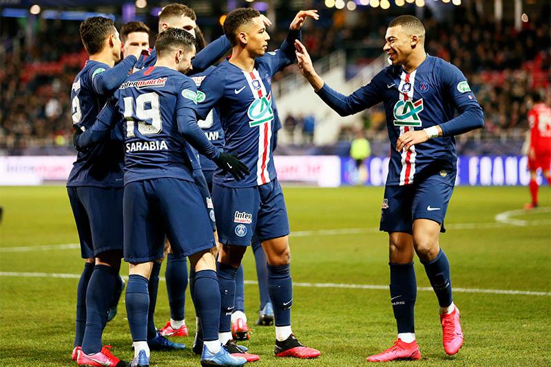Paris St Germain's Pablo Sarabia celebrates scoring their fourth goal with Kylian Mbappe and teammates. Photo: Reuters