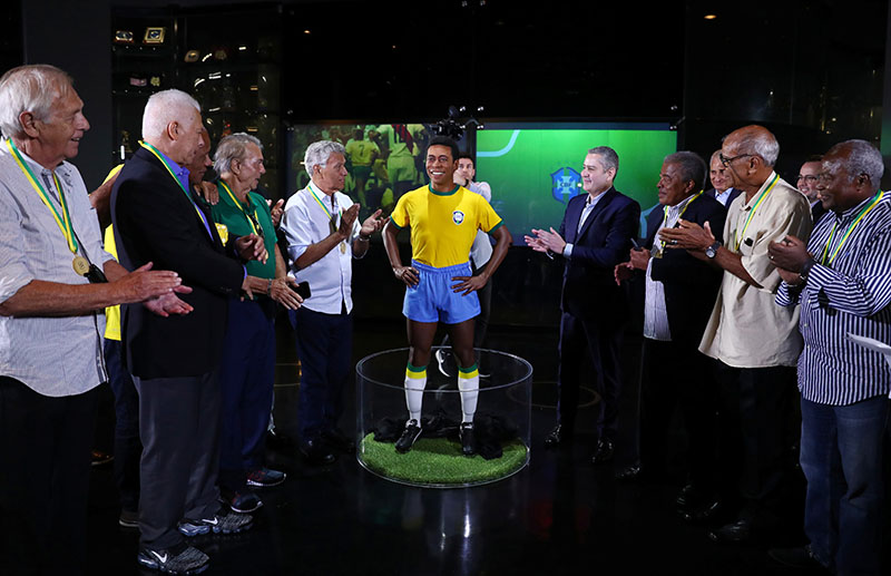 Pele's statue unveiled on the 50th anniversary of the 1970 World Cup victory, at CBF Headquarters, in Rio de Janeiro, Brazil, on February 20, 2020. Photo: Reuters