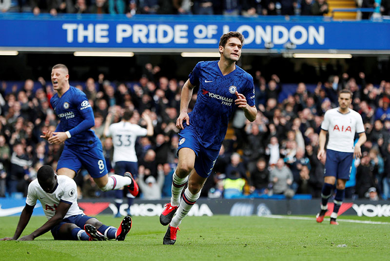 Chelsea's Marcos Alonso celebrates scoring their second goal during the Premier League match between Chelsea and Tottenham Hotspur, at Stamford Bridge, in London, Britain, on February 22, 2020. Photo: Action Images via Reuters