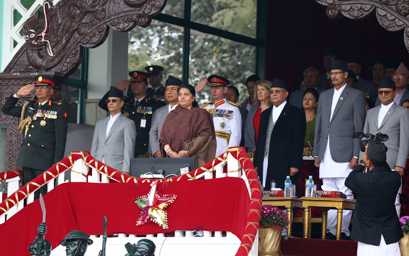 President Bidya Devi Bhandari, Prime Minister KP Sharma Oli, among others during the ceremony organised by Nepal Army (NA) on the occasion of Nepal Army Day that coincides with Mahashivaratri, at the Army Pavilion, in Tundikhel, Kathmandu, on Friday, February 21, 2020. Photo: RSS