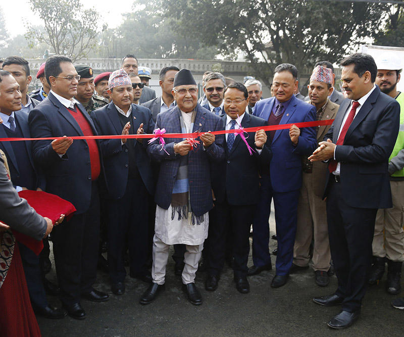 Prime Minister KP Sharma Oli inaugurating the project of installing underground power cables, in Maharajgunj, Kathmandu, on Monday, February 17, 2020. Photo: RSS