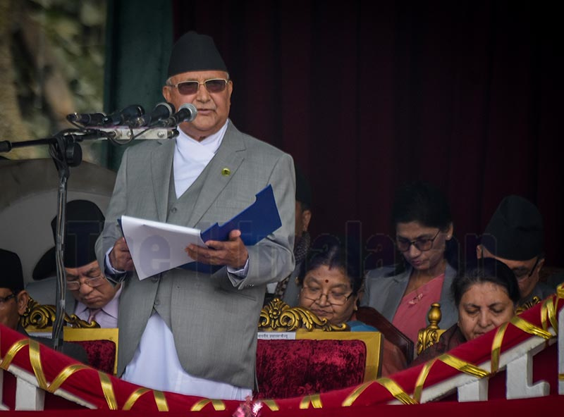 Prime Minister KP Sharma Oli addressing the event in Tundikhel, Kathmandu, on Wednesday. Chief justice, speaker of the House of Representatives, ministers and high-ranking government officials participated in the programme. Photo: Naresh Shrestha / THT