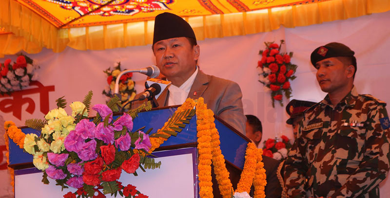 Province 1 Chief Minister Sherdhan Rai addressing a programme organised to mark the governmentu2019s completion of two years, in Biratnagar, on Saturday. Photo: THT