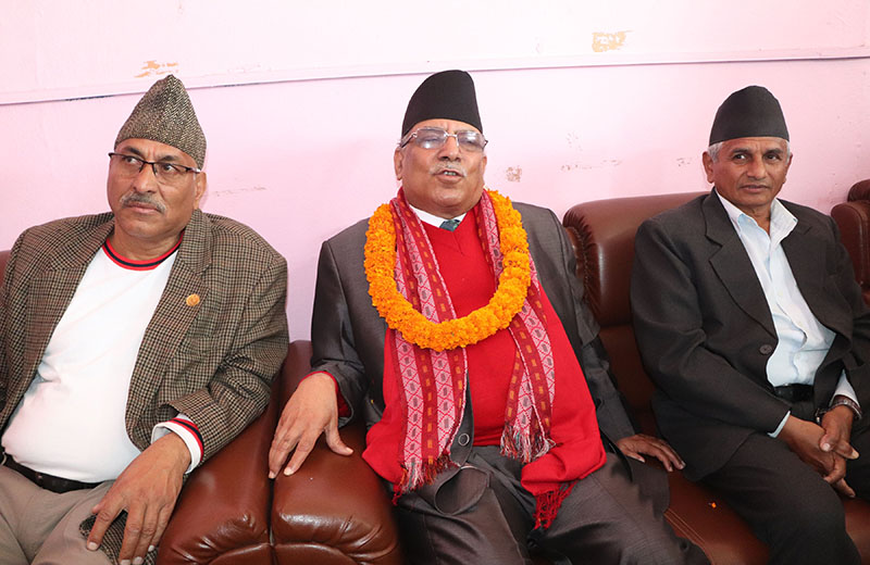 Co-chairperson of Nepal Communist Party (NCP) Pushpa Kamal Dahal in conversation with journalists in Bharatpur, Chitwan, on Saturday, February 22, 2020. Photo: RSS