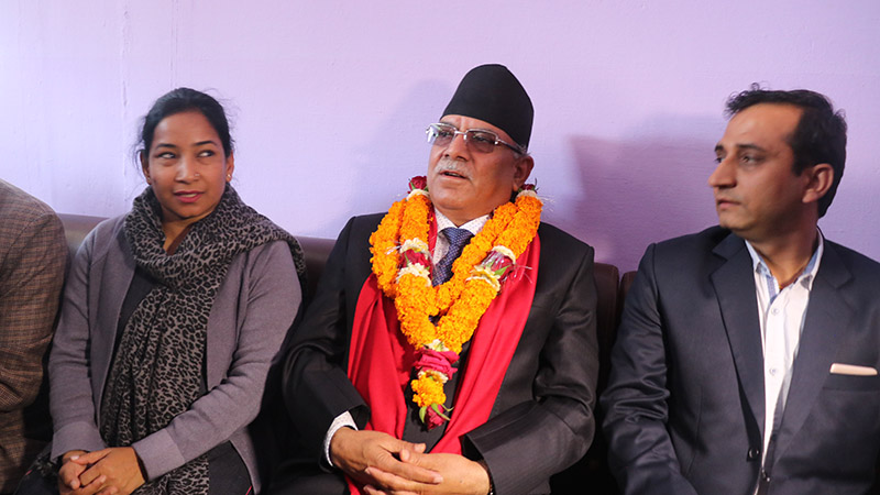Nepal Communist Party (NCP) co-chair Pushpa Kamal Dahal responding to mediapersons in a press meet organised by Press Association, Chitwan at Bharatpur Airport, on Friday, February 28, 2020. Photo: Tilak Rimal/ THT