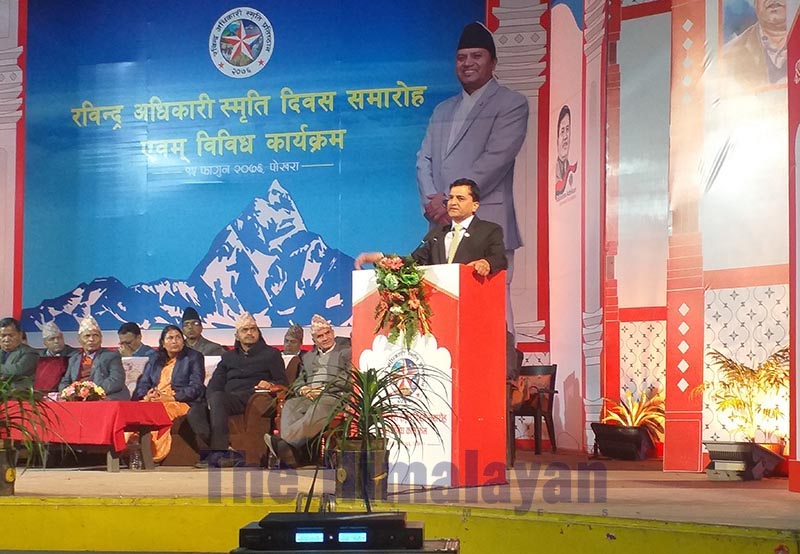 Minister of Culture, Tourism and Civil Aviation Yogesh Bhattarai speaking at the Rabindra Adhikari Memorial Day programme, in Pokhara, on Thursday, February 27, 2020. Photo: THT