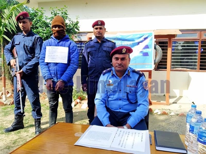 One of the perpetrators, arrested on the charge of murder, being made public at the Area Police Office, Garuda, in Rautahat district, on Saturday, February 29, 2020. Photo: Prabhat Kumar Jha/THTn