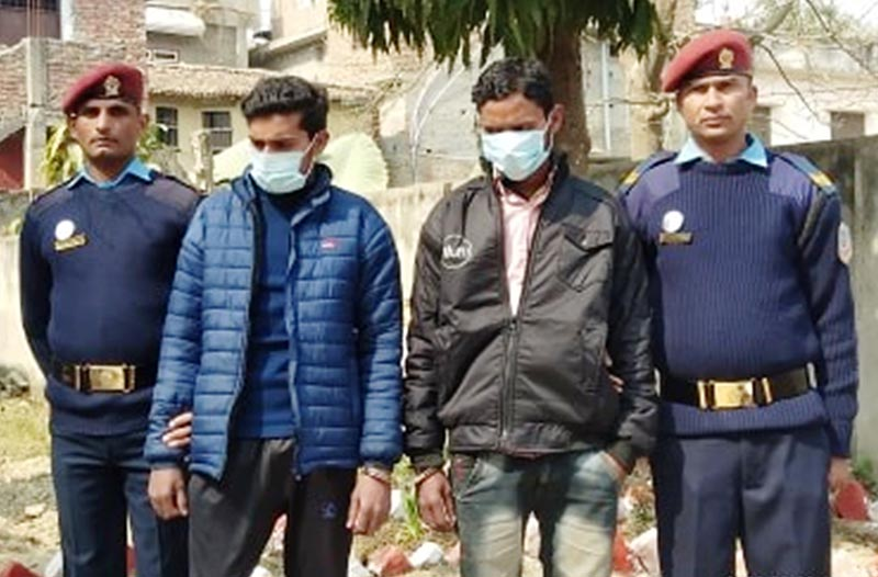 Police making public two brothers charged with murdering Mohammad Hak, in Rautahat, on Sunday, February 9, 2020. Photo: THT