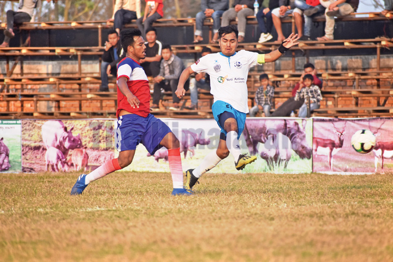 Action in the match between Yeti Himalayan Sherpa Club (right) and Indreni Ekikrit Bikash Kendra during the fifth Rhino Gold Cup in Nawalpur, on Saturday. Photo: THTnPhotos: THT
