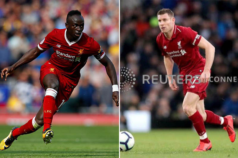 FILE: Liverpool's Sadio Mane (left) and James Milner. Photos: Reuters