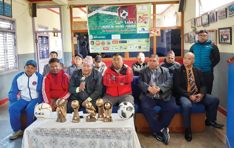 Sahara Club President Keshav Bahadur Thapa speaks as other officials look on during a press meet in Pokhara on Saturday. Photo: THT