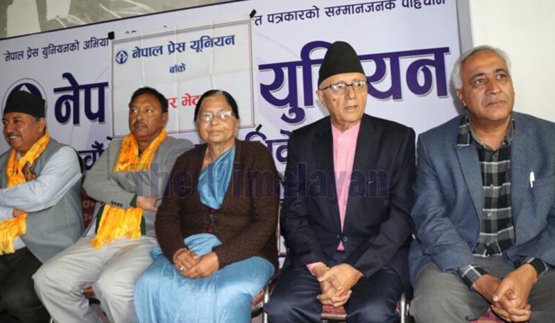 Nepali Congress leader Shekhar Koirala speaking at a press meet, in Nepalgunj, on Saturday. Photo: THT