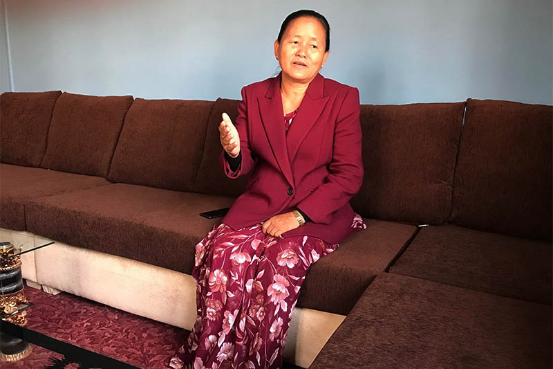 Shiva Maya Tumbahamphe, the former deputy speaker of the lower house of parliament, sits in the living room of her official residence in Kathmandu, Nepal on January 26, 2020. Photo: Reuters