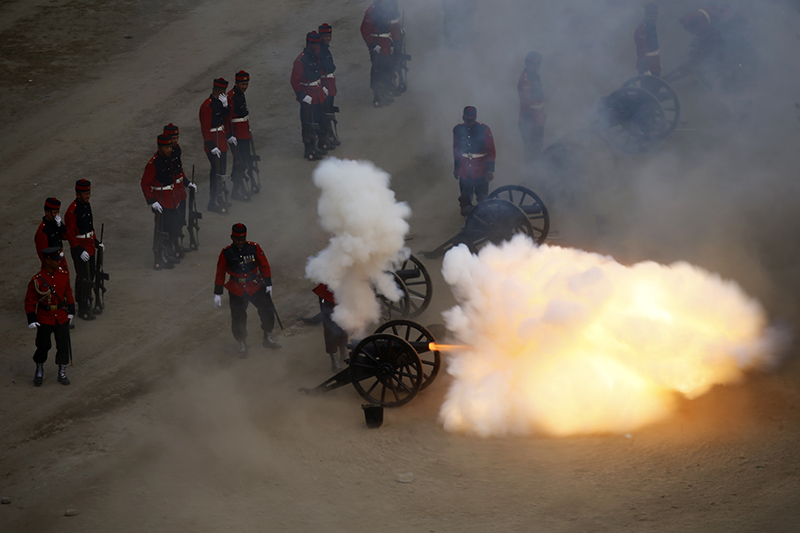 Nepal Army soldiers fire cannon shots during the grand rehearsal of Army Day, in Kathmandu, on Tuesday, February 18, 2020. Photos: Skanda Gautam/THT