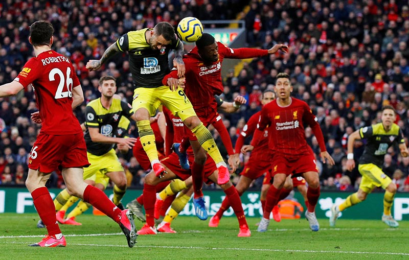 Southampton's Danny Ings in action with Liverpool's Georginio Wijnaldum during the Premier League match between Liverpool and Southampton, at Anfield, in Liverpool, Britain, on February 1, 2020. Photo: Reuters