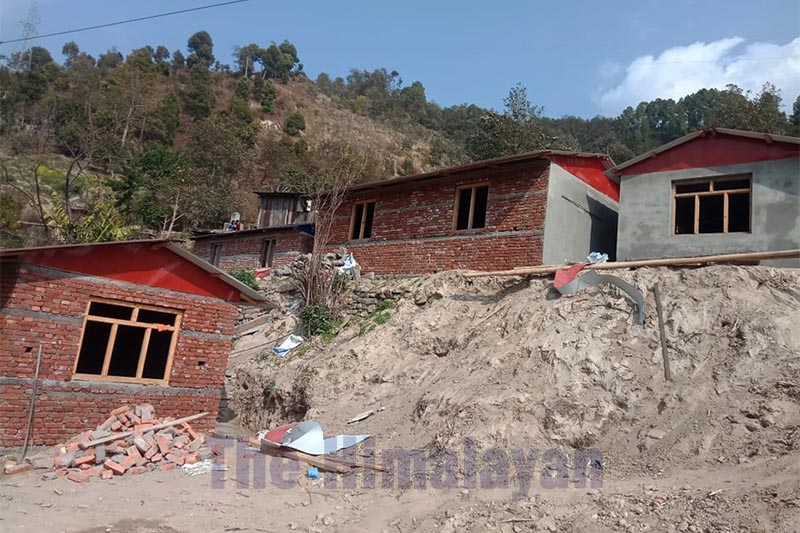 A view of houses being built by landless people after Tamakoshi Rural Municipality provided land to them at Bhirkot Kalidaha, in Dolakha, on Monday.