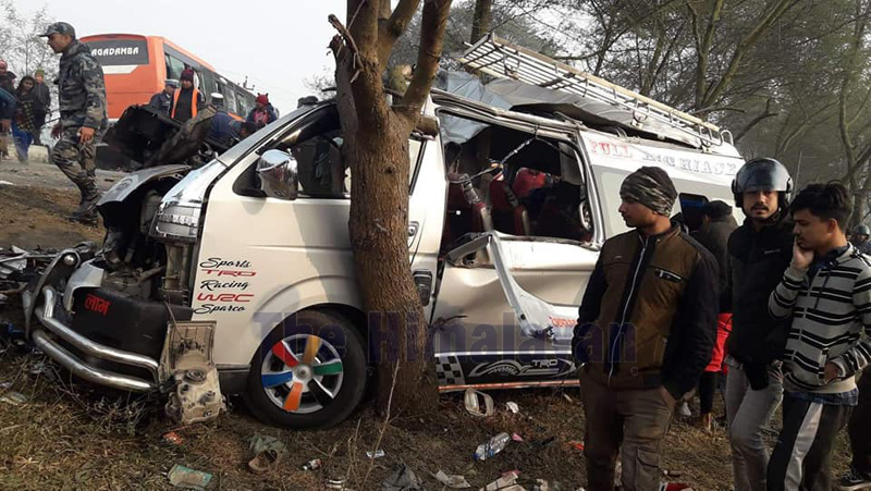 This image shows the micro-bus after the accident that occurred in Ramdhuni Municipality-2, Sunsari, on Sunday, February 02, 2020. Photo: Santosh Kafle/THT