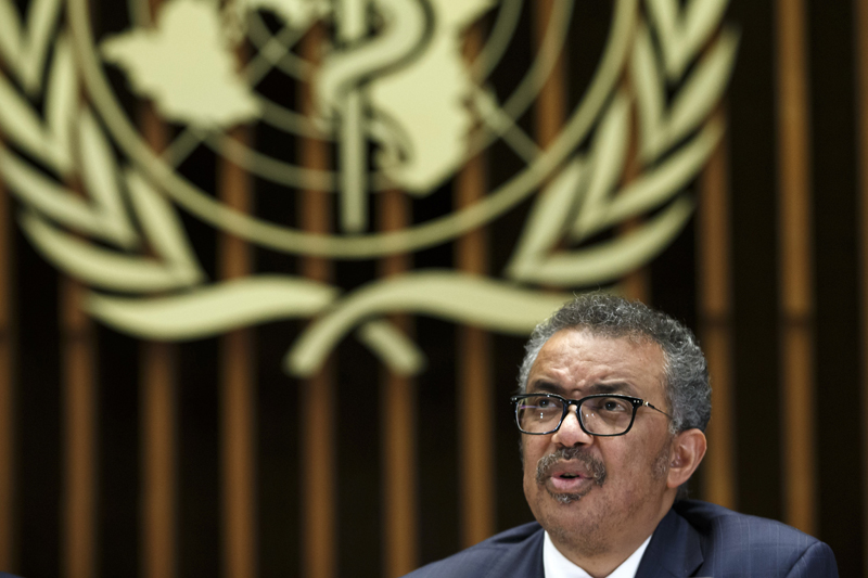 Tedros Adhanom Ghebreyesus, Director General of the World Health Organization (WHO), gives a statement to the media about the response to the COVID-19 virus outbreak, at the World Health Organization (WHO) headquarters in Geneva, Switzerland, Wednesday, Feb 12, 2020.  Photo: Salvatore Di Nolfi/Keystone via AP