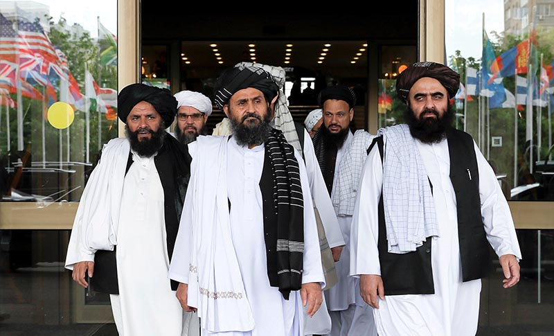 File - Members of a Taliban delegation leaving after peace talks with Afghan senior politicians in Moscow, Russia May 30, 2019. Photo: Reuters
