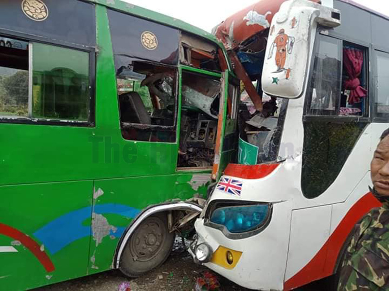 Two passenger buses coming from opposite directions come into collision with each other, at Byas Municipality-12, Tanahun, on Sunday , February 23, 2020. Photo: Madan Wagle/THT
