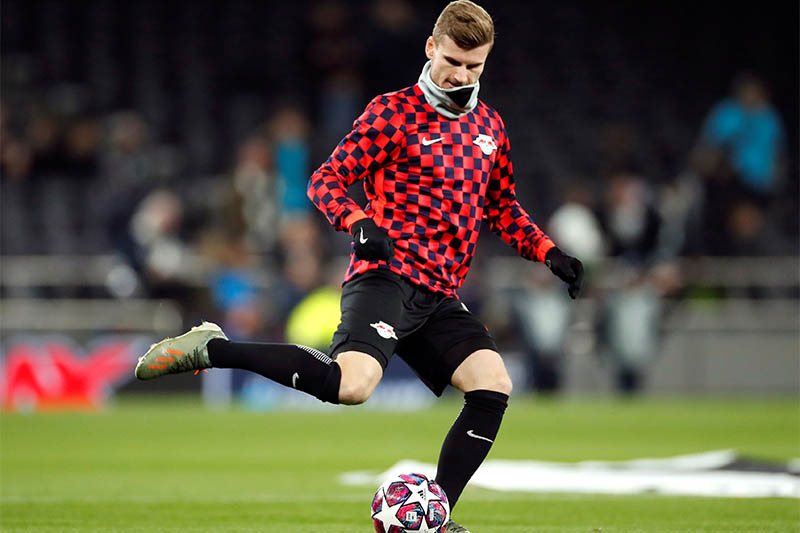 RB Leipzig's Timo Werner during the warm up before the match. Photo: Reuters