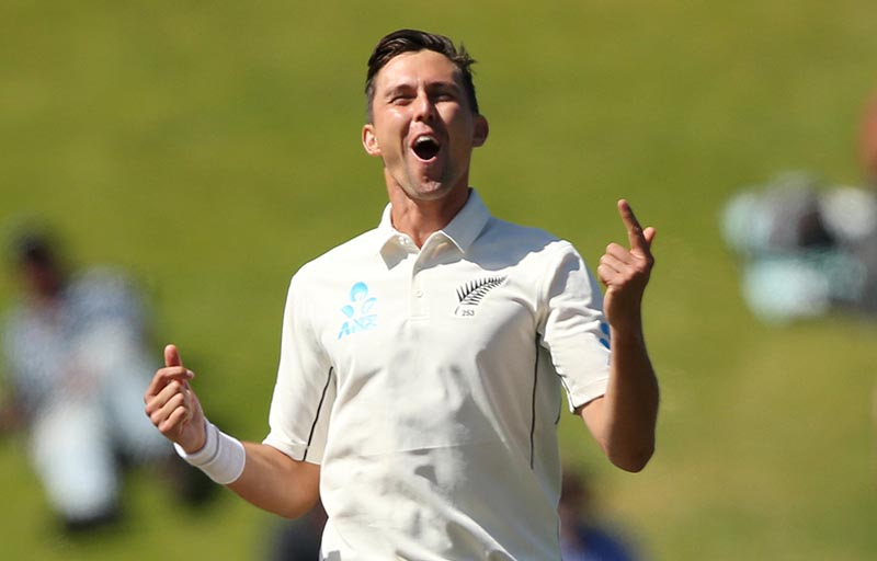 New Zealand's Trent Boult celebrates the wicket of India's Ajinkya Rahane. Photo: Reuters