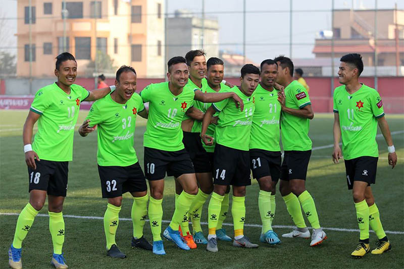 Tribhuvan Army Club (TAC) players celebrate after defeating Brigade Boys Club at ANFA Complex Ground today. Courtesy: ANFA/Facebook