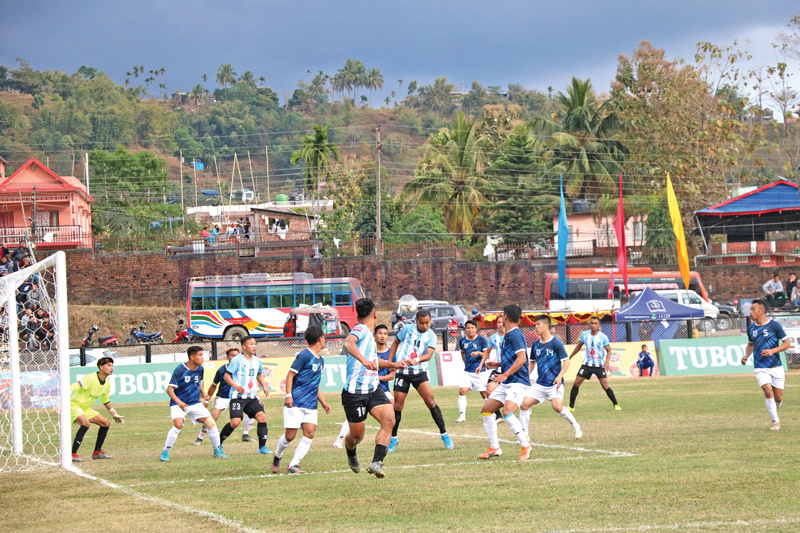 NOC MMCu2019s Anjan Bista heads the ball during the 22nd Budhasubba Tuborg Gold Cup match against United Kurseong Club in Dharan. Photo: THT