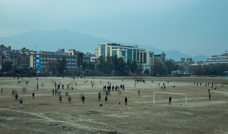A photo taken with a slow shutter speed shows people spending their leisure day in Tudikhel, Kathmandu, on Saturday, February 1, 2020. Photo: Nishant S.Gurung/THT